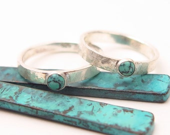Turquoise ring, Minimalist ring, Stack Ring,  Thumb Ring Size 12Already made, Ships immediately.