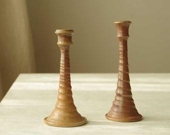 Candle holders set of 2.   Glazed ceramic terracotta rustic candle holder.