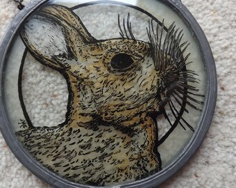 Sun catcher , glass sun catcher, rabbit, hare, rabbit sun catcher