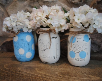Painted Mason Jars, Baby Shower Centerpieces, Shabby Chic, Baby Boy Shower Centerpieces, Painted Ball Jars, Nursery Decor