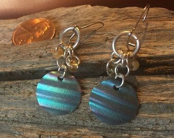 Titanium dangle earrings in teal with silver tones.  On surgical steel earwires.