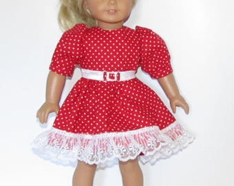 """Red and White Polka Dot Dress with Lace and Belt Made to Fit Dolls Like Gotz or American Girl Doll Clothes 18"""""""