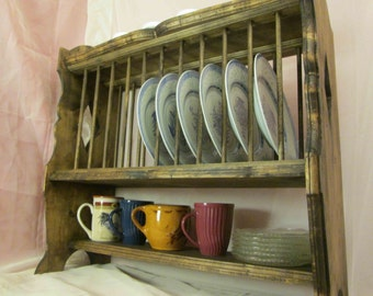 Plate Rack, French Provincial Style, Hanging & Free-Standing ~ Stained