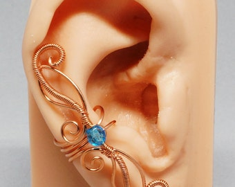 Copper and Blue Ear Cuff, Fairy Ear Cuff, Coiled Swirls Ear Cuff
