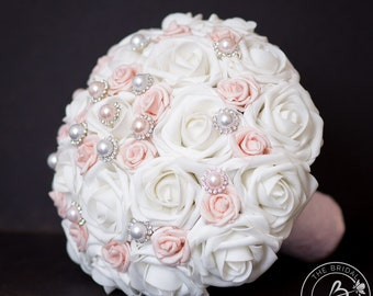 Blush pink wedding bouquet, artificial fake white and pink bouquet with pearls, quniceanera bouquet, quince princess bouquet with lace