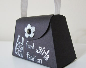 Girls Fun Black and Silver Paper Purse Favors