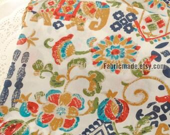 Shabby Chic Flower Elephant Fabric, Vintage Ethnic Flower Elephant Cotton  - 1/2 Yard