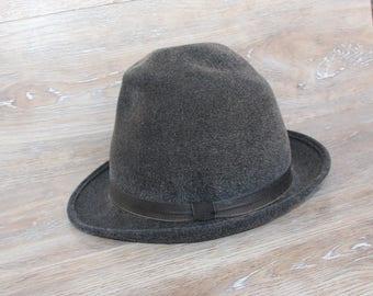 Vintage felt hat Fedora hat for men Vintage fedora hat  Gray felt hat Felted hat for men Gray fedora hat  Fedora hats style Mens fedora