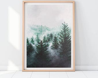 Forest Downloadable Prints Mist Fog Prints Painting Modern Wall Art Decor Mountains Trees Illustration Poster Green Tree Print Woods Boho