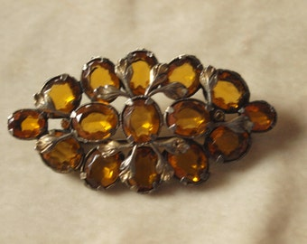 1930's Large Open Backed Amber Glass Brooch