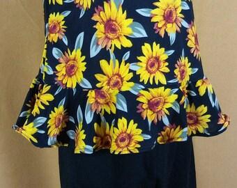 4T  Sunflower top and capri leggings set