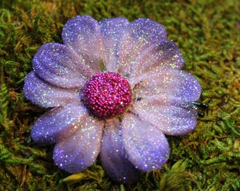 Purple Daisy Bobby Pin- Handmade Floral Headpiece