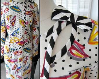 Bill Blass Dress / Vintage Bill Blass Dress / Bill Blass Silk Dress / sz 10 / fits M / Bill Blass Polka Dot Dress / Silk Hat Dress