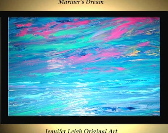 Original Large Abstract Painting Modern Acrylic Painting Oil Painting Canvas Art Pink MARINER'S DREAM 36x24 Textured Wall Art  J.LEIGH