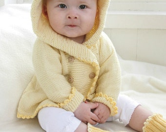 Baby Girl Knit Coat and Booties Set, Sizes from Newborn