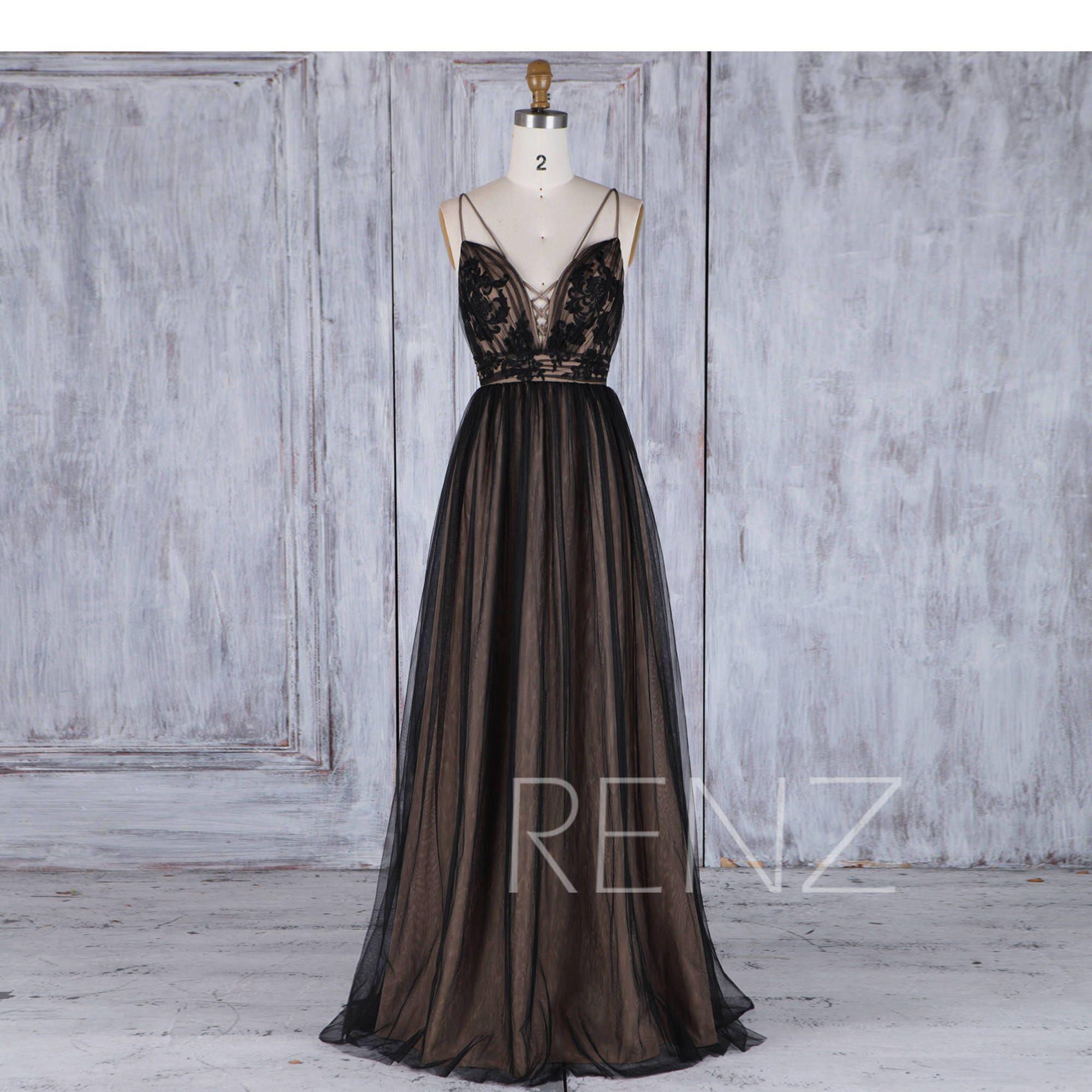 Bridesmaid dress black tulle wedding dressspaghetti strap zoom ombrellifo Choice Image