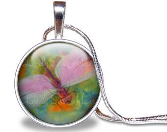 Dragonfly Necklace, Dragonfly Pendant, Colorful, Pastel, Glass Tile Necklace, Dragonfly Jewelry, Dragonfly Gift, Dragonflies, Pink and Green