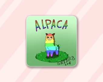 LGBT Gay Pride Alpaca Card, Rainbow Llama, Cute animal art print