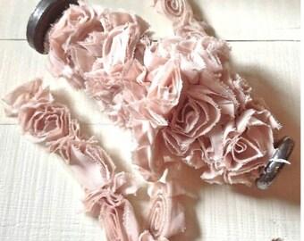 rose ruffle trim. ruffle trim. pale peach rose ruffle trim. ruffle trim.