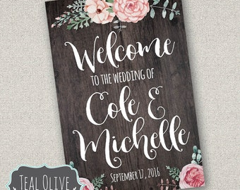 Welcome to our Wedding - Rustic Chic Wedding - Wedding poster - Chalkboard Poster - Wedding Sign
