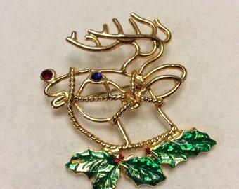 Christmas reindeer brooch pin. Green red rhinestones enamel on metal. Free ship to US
