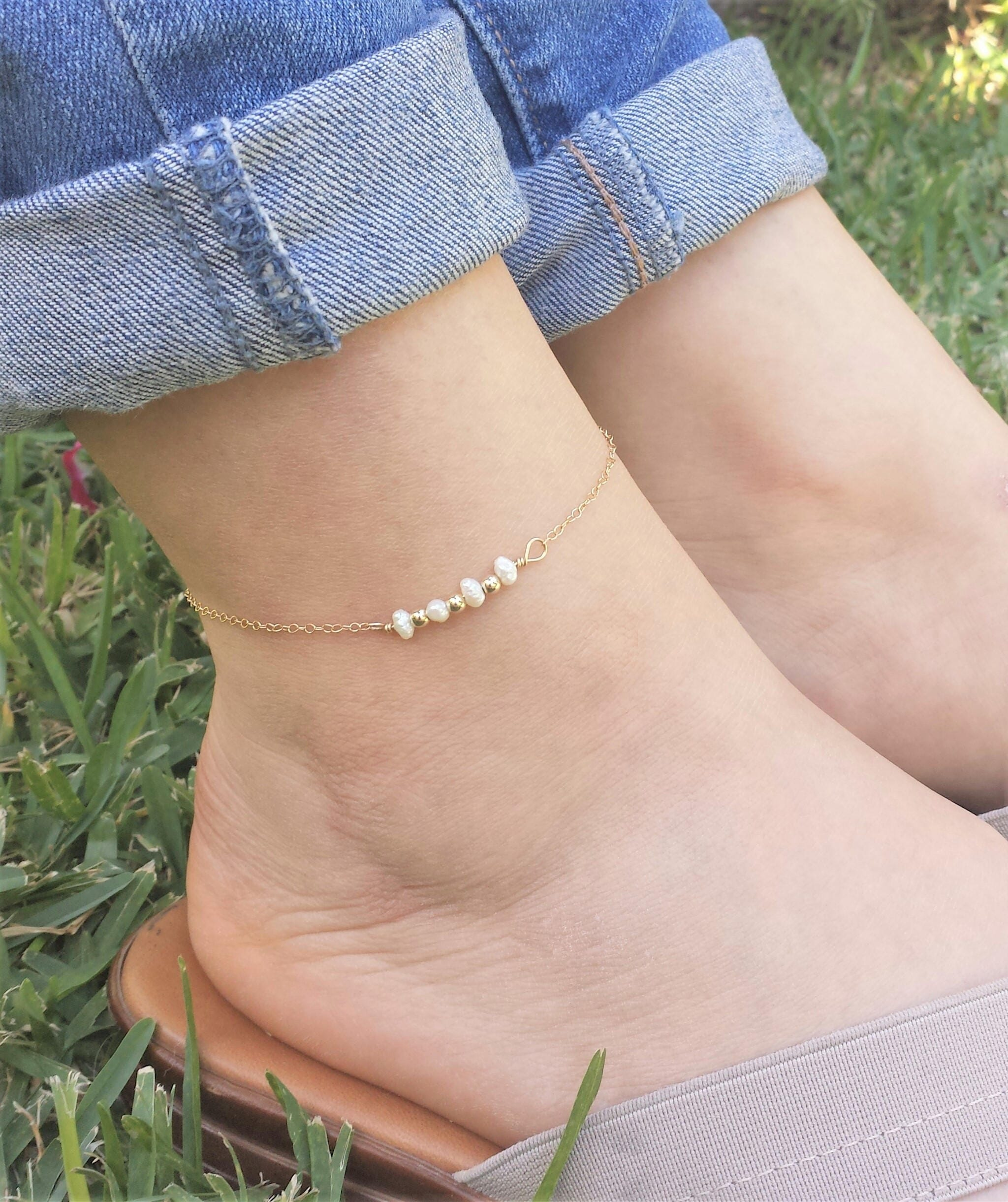 gold pin karat chain anklet open inch concave lobster figaro