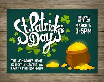 Pot of Gold Invitation, St. Patricks Day, DIY Printable St. Patricks Invitation, Personalized, Studio Veil