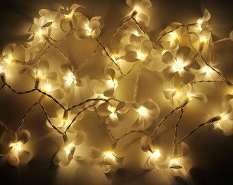 Flower string lights etsy white frangipani flower string lights for patioweddingparty and decoration 20 bulbs mightylinksfo