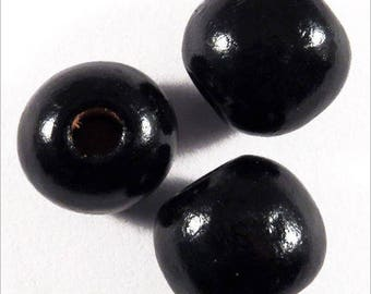 Set of 20 black wooden beads, 12mm