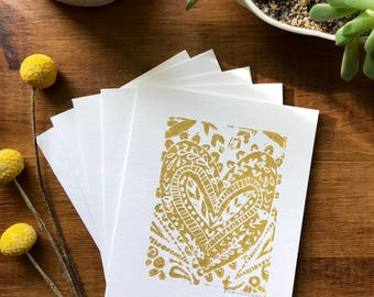 Gold Henna Heart Linocut Card Set / Mother's Day Cards/ Blank Card Set / Anniversary Cards/ I Love You Card Set/ Thank You Card Set/ Bridal