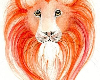 Lion Painting Animal Art Print Lion Animal Print Wild Animal Lion Original Watercolor Painting Lion Art Lion Wildlife, Wildlife Animals Art