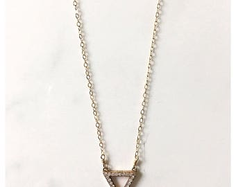 Gold Vermeil and Cubic Zirconia Triangle Necklace