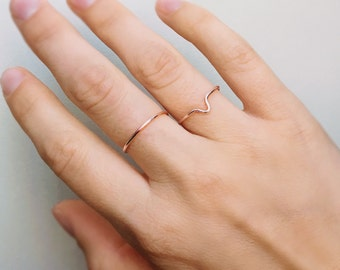 Two Stackable Rose Gold Rings, Chevron ring, Rose gold ring, V ring, Stackable rings, Two rings, Adjustable ring, Ring set, Gift