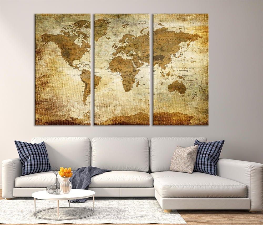 Antique World Map Large Wall Art, Push Pin Travel Map of World ...