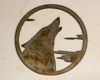 6 inch Wolf Coyote Howling Rough Rusty Metal Steel Wall Art Ornament Craft Stencil Sign