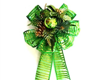 Unique Christmas gift bows, Large bows for Christmas wreaths, Holiday tree bow, Bow for decorations, Gift wrapping bow, Bow for gifts (C504)