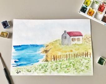 Original Artwork, Seascape Painting, Watercolor Painting, Watercolor House, Sea Painting, House Painting, landscape, Sea, House By the Sea