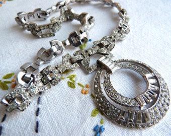 Art deco rhinestone and rhodium necklace