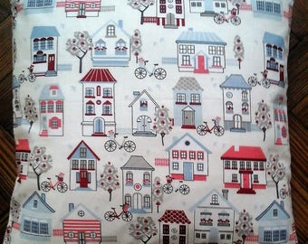 Vintage Homes and Streets hand made cushion cover. 16x16