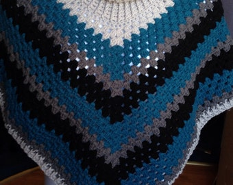 Poncho, cowl neck poncho, handmade , can make to order
