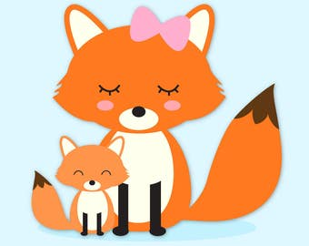 woodland animals clip art images fox clip art fox vector rh etsy com  fox clipart free