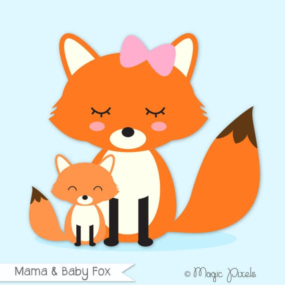 fox clip art mama and baby fox clipart forest animals clip art rh etsystudio com