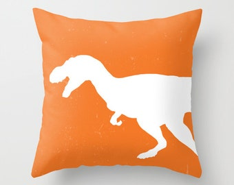 T-Rex Pillow with insert Cover - Orange and White - Dinosaur Decorative Pillow with insert - Accent Pillow with insert