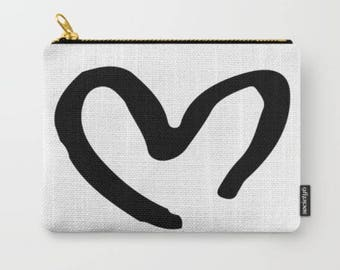 Black and White Heart Carry-All Pouch Clutch Wallet Bridal Party Gift Bridesmaid Gift