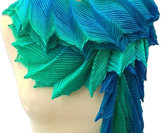 Shibori pleated silk  scarf - Dragon-tail - ocean