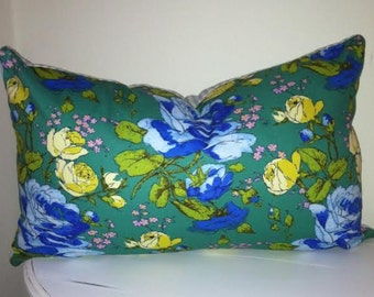 Cottage Chic Pillow Cover, Amy Butler, Reversible to Blue Ticking