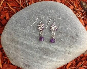 Amethyst Sterling Silver Dangle Earrings