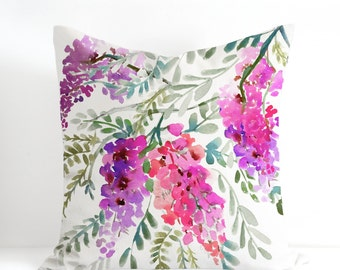 Wisteria Throw Pillow Cover, Designer Watercolor Decorative Cushion Unique Pillow Case, Handmade Pillow Cover Watercolor Throw Cushion