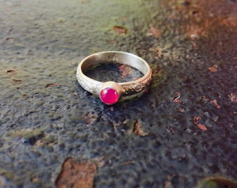 Pink Spinel Bezel Setting Sterling Silver Floral Ring SIZE 6.5