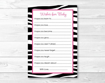 Cute Pink Zebra Print Wishes for Baby Cards / Zebra Baby Shower / Zebra Print / Hot Pink & Black / Baby Girl Shower / INSTANT DOWNLOAD A232
